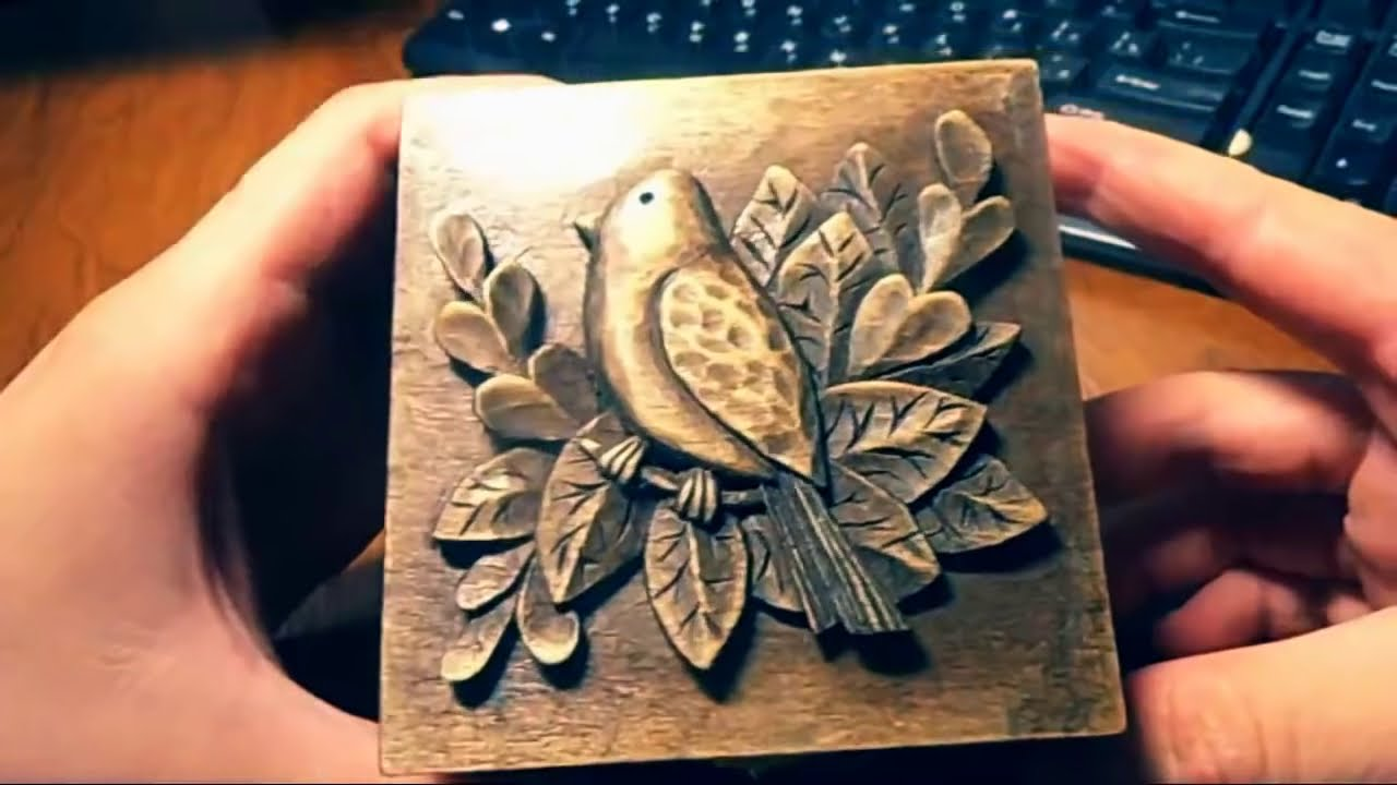 Wood carving carved jewelry box carving on wood art gift