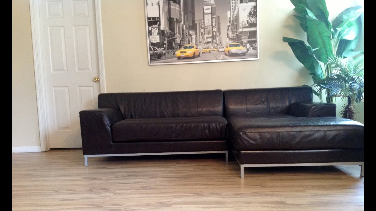 Ikea kramfors lshape genuine leather sectional youtube for Sofa zeichnung