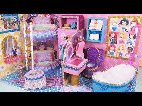 DIY Miniature Disney Princess Dollhouse~ Bedroom & Bathroom~ Bunk Bed, doll shoes, dress~