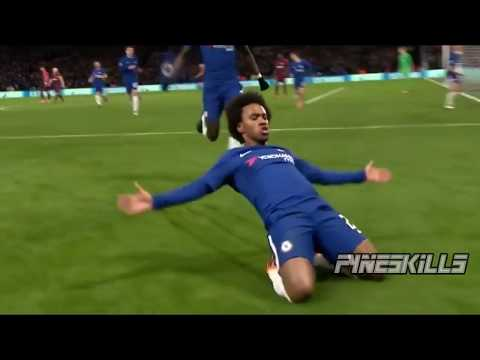 Willian Hits the Post Twice Before Scoring Goal vs Barcelona - Try Again