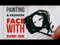 Painting Tiny Balenciaga Fashion Faces on My Business Cards with Sumi Ink Part 1