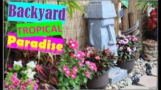 Tropical Backyard Tour  |  Tiki Decor and Tiki Bar