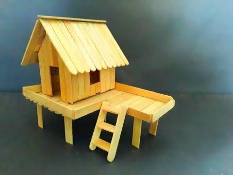 Cara Membuat Miniatur Rumah Panggung Sederhana Dari Stik Es Krim Youtube