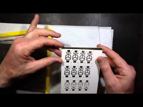 Test etching PCBs with inkjet transparencies.
