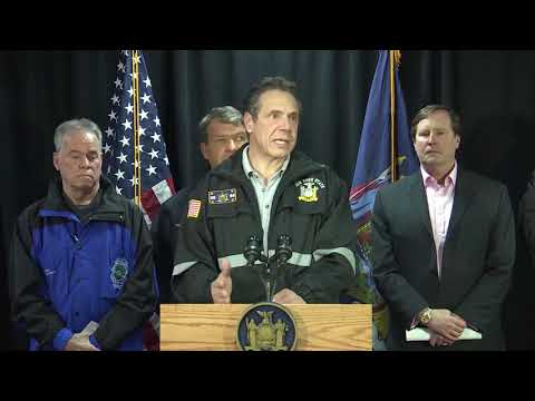 Gov. Andrew Cuomo at a storm briefing Wednesday afternoon in Rockland County.
