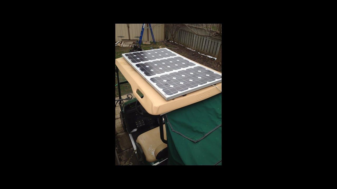 Solar powered golf cart - YouTube on golf cart led lights, golf cart air bag suspension, golf cart awning, golf cart inverter, golf cart phone charger, golf cart lithium battery, golf cart battery charger,