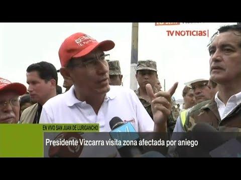 San Juan de Lurigancho: mandatario inspecciona contención de aniego