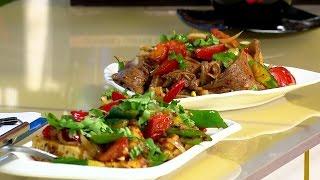 Корейский салат с языком  и тофу с овощами за 5 мин / УтроLive / 11.04.17 / НТС