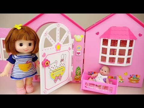 Baby doll house with Kinder Joy toys play