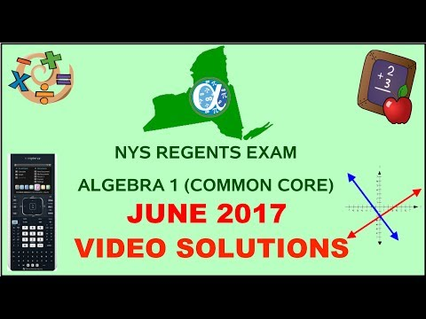 NYS Algebra 1 [Common Core] June 2017 Regents Exam ANSWERS