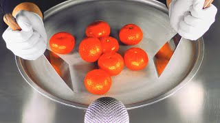 ASMR - Tangerine Ice Cream Rolls  oddly satisfying tapping and scratching fast rough ASMR Sounds 4k