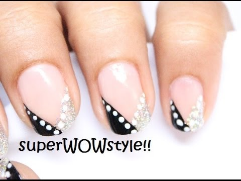 french tip nail art design - easy