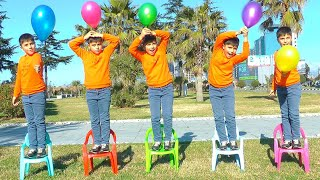 Five Little Monkeys Jumping On The bad Song - Learn Flying Balloons colors with Guka and Maria