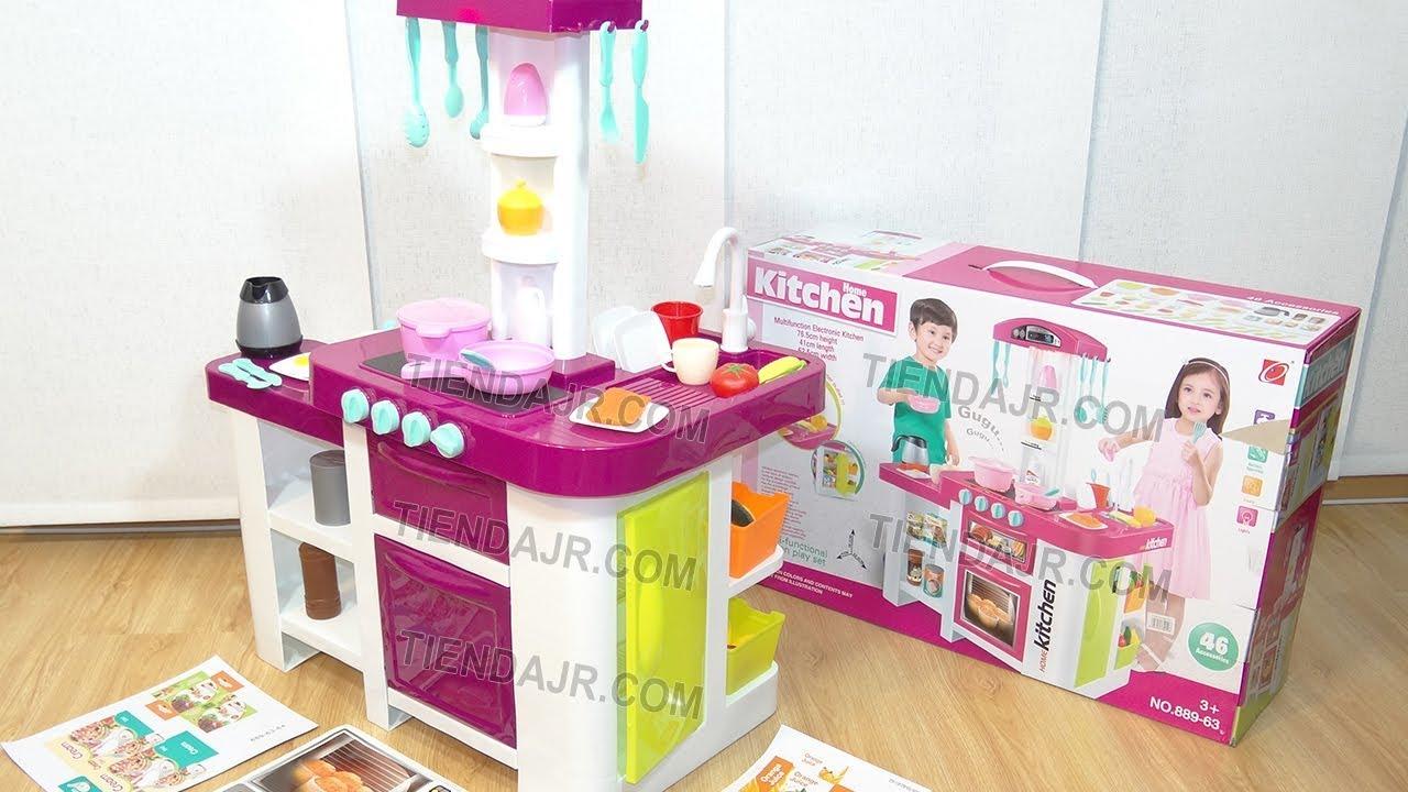 Cocina De Juguete Para Ninas Con Nevera Agua Real Luces Sonidos 46