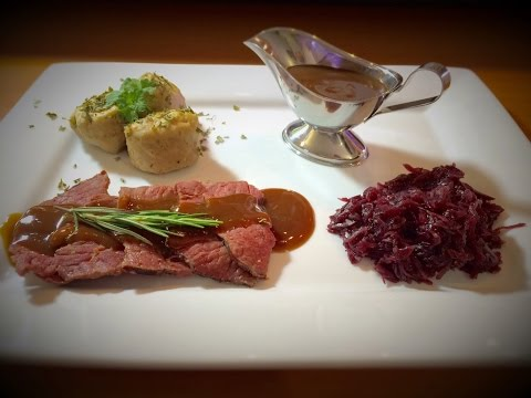 Serving It In Style (German Cuisine: Rinderbraten mit Rotkohl und Knödel)
