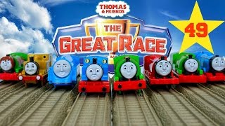 THOMAS AND FRIENDS THE GREAT RACE #49 | TRACKMASTER SCARED FACE PERCY Kids Playing Toy Trains