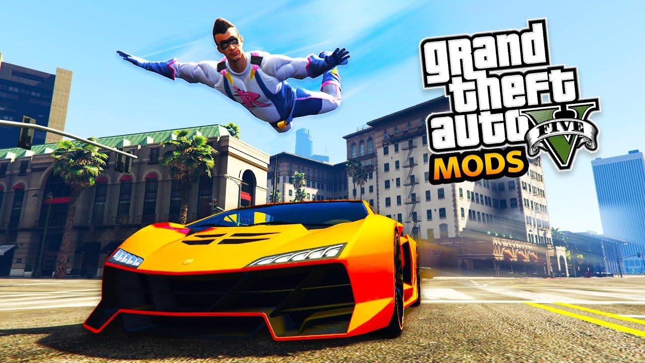 GTA 5 Mods - SUPERHERO FLYING MOD!!! FIGHTING CRIME in LOS SANTOS! (GTA 5  Mods Gameplay)
