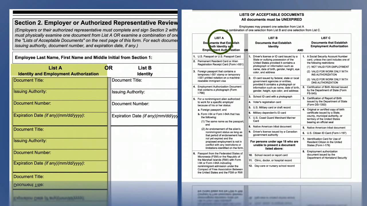 Video Form I 9, Employment Eligibility Verification Section Two USCIS    YouTube