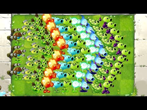 Plants vs Zombies 2 Mod ALL PEA MAX LEVEL POWER-UP! vs GARGANTUAR, Newspaper, Jester, Excavator