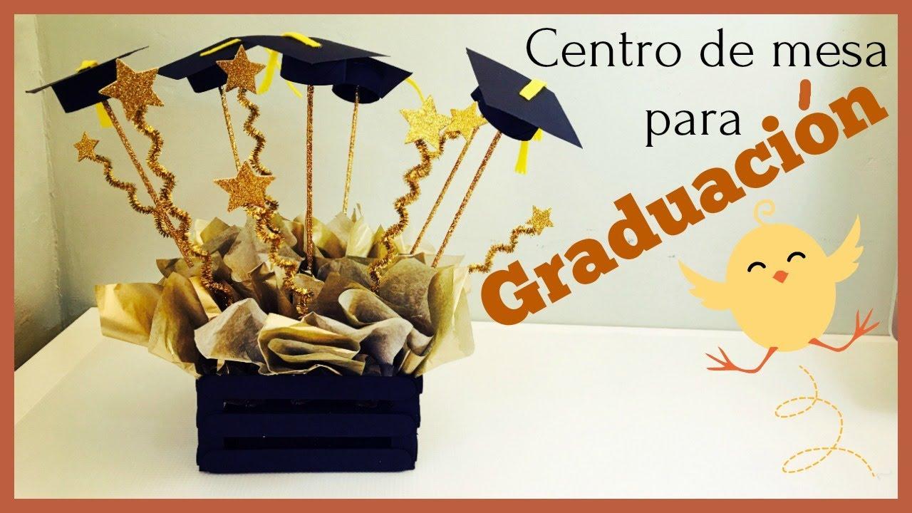Centro de mesa para graduacion manualidades con palitos for Mesa para manualidades