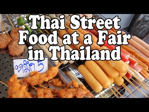 Thai Street Food & Shopping at a Fair in Thailand. A Buddhist Festival in Nakhon Si Thammarat