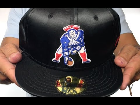 Patriots  THROWBACK SATIN BASIC  Black Fitted Hat by New Era - YouTube 46a6e5d4bb4c