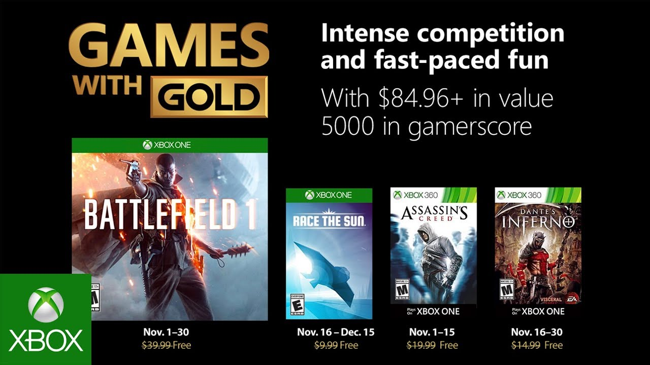 Xbox November 2018 Games With Gold Youtube