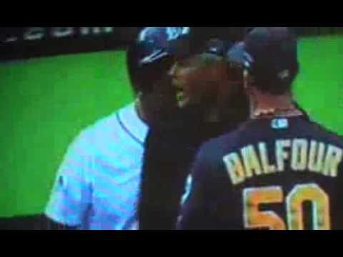 Grant Balfour, Victor Martinez Trade F-Bombs: Tigers, A's Benches Clear