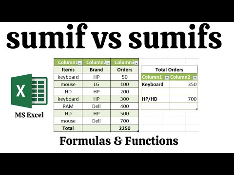 Sumif Vs Sumifs Excel Formulas And Functions