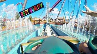 Shambhala Portaventura Ride Front Seat Roller Coaster POV, Spain (Best Quality)