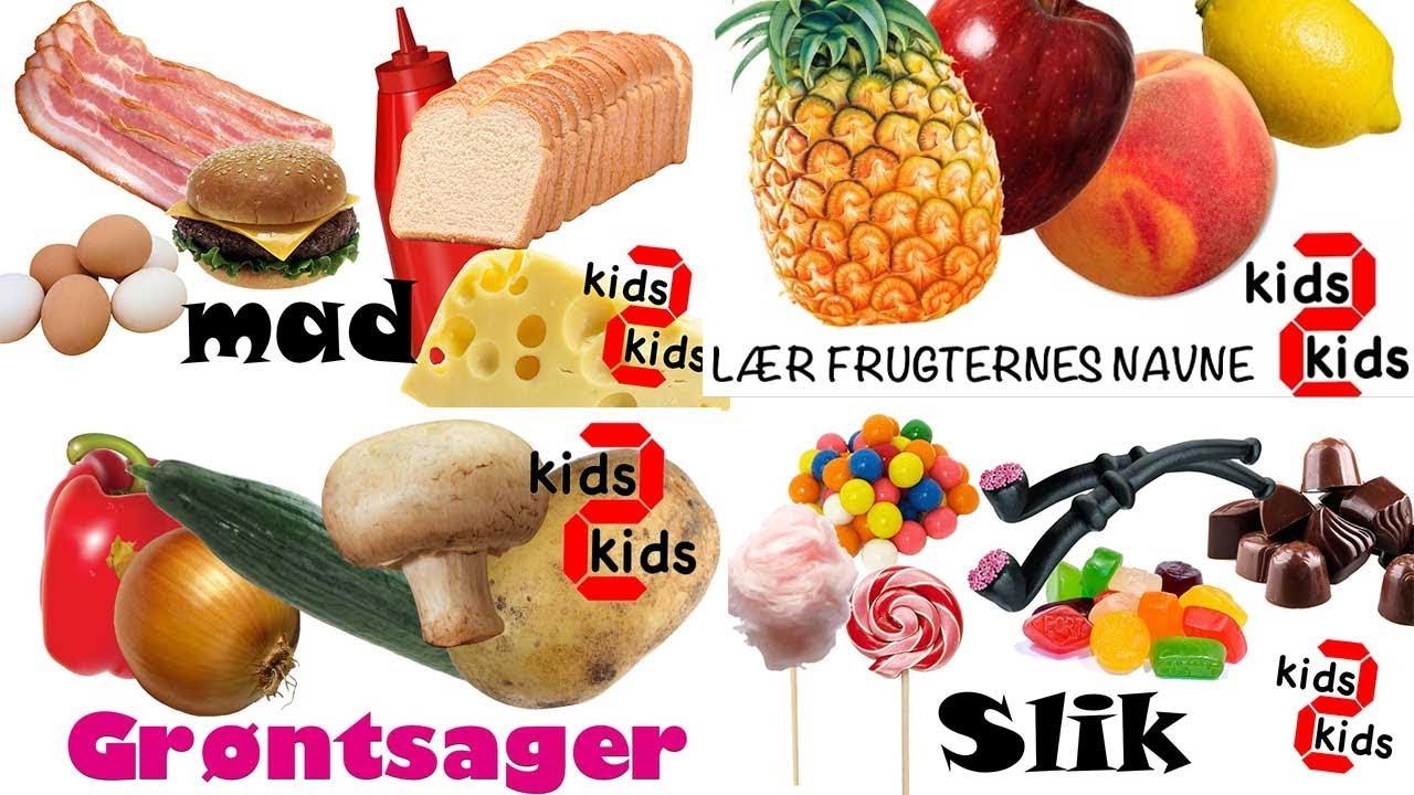 Lær dansk for børn: Mad, frugt, grøntsager, slik og søde sager. kids 2 kids.