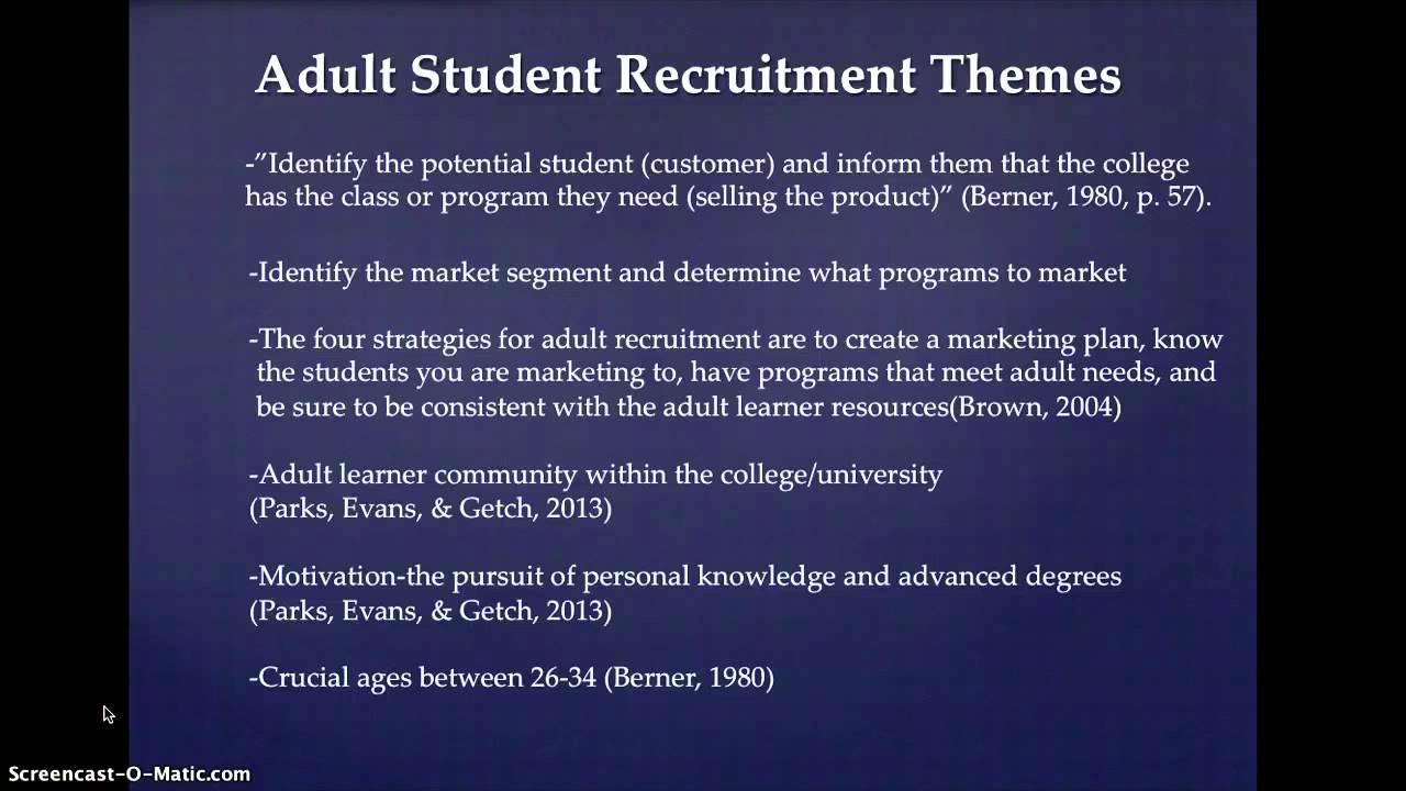 Recruitment Adult learner