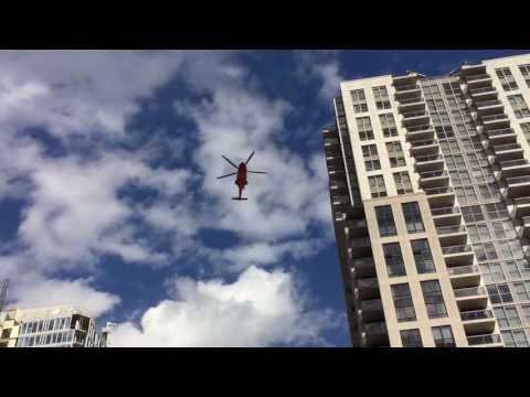 Air ambulance landing on top of St. Michaels hospital.   Sept 2016