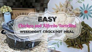Easy Weeknight Dinner- Chicken and Alfredo Tortellini- Crockpot Recipe