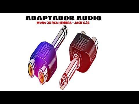 Video de Adaptador audio mono 2x RCA hembra - JACK 6.35 macho  Gris