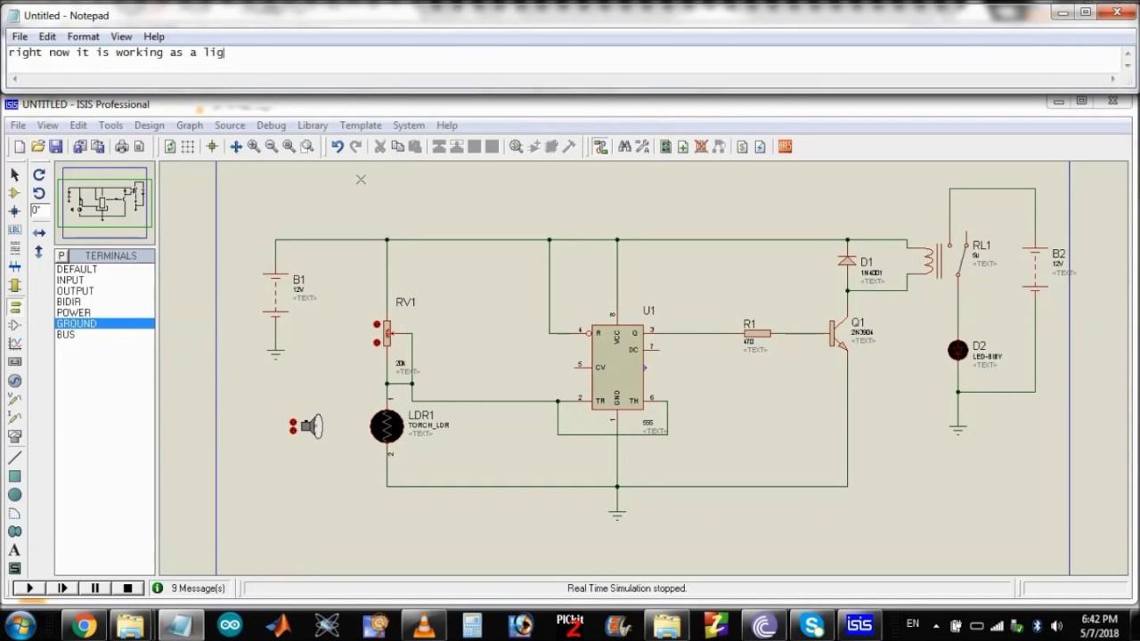 Ldr 555 Timer Dark Sensing Relay Street Light Circuit In Proteus