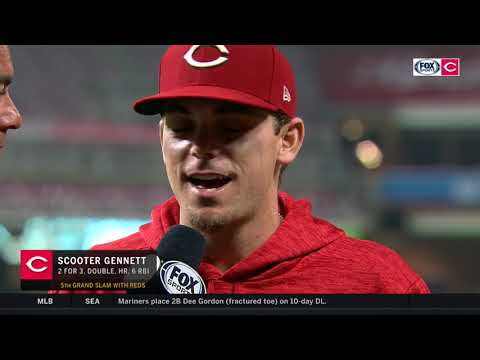 Scooter Gennett joined Jeff Piecoro after hitting a grand slam and driving in six runs for the Reds