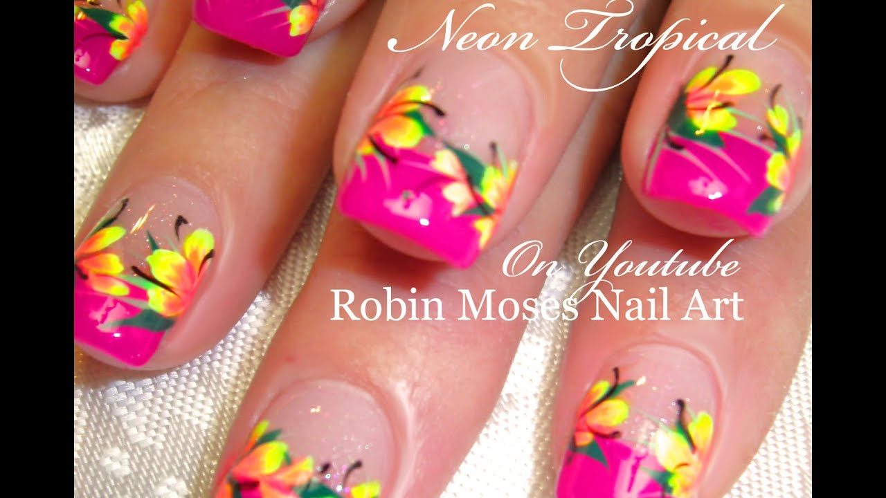 Neon Pink Tropical Nails Hot Neon Yellow Flowers Nail Art Design
