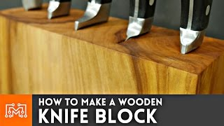 How to make a knife block (that can hold your cookbook) // Woodworking