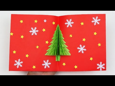 How to Make DIY Easy and Beautiful Christmas Tree Pop Up Card - DIY Pop Up Christmas Card with Tree
