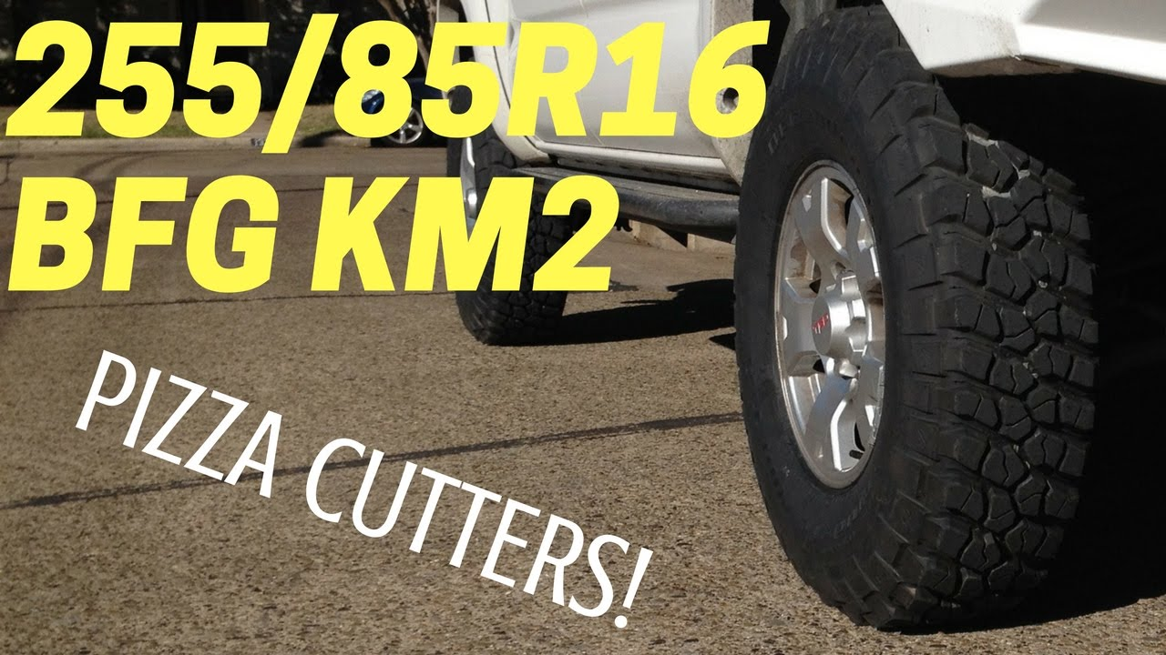 All Terrain Truck Tires >> TOYOTA TACOMA with 255 85 R16 BFG KM2 | Tall Skinny Mud Terrain Tires - YouTube