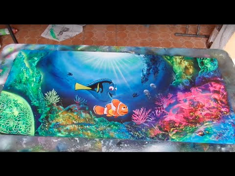 Finding dory spray paint art - YouTube