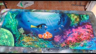 Finding dory spray paint art
