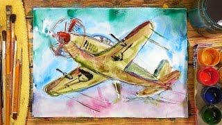 Как нарисовать Самолет. Урок рисования для детей от 4 лет, РыбаКит