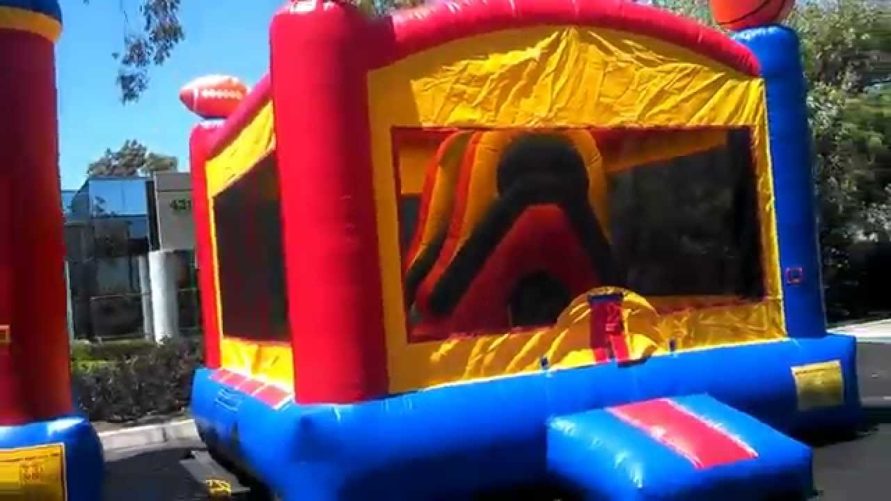 classic 15x15 sports theme inflatable bounce house u0026 inflatable slide mini combo - Inflatable Bounce House