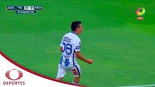 Gol de Hirving Lozano   Tigres 0 - 1 Pachuca   Jornada 6 - A16   Televisa Deportes