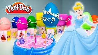 Cinderella Play-Doh Surprise Eggs Opening Game Disney Princess Toys Kinder Playtime