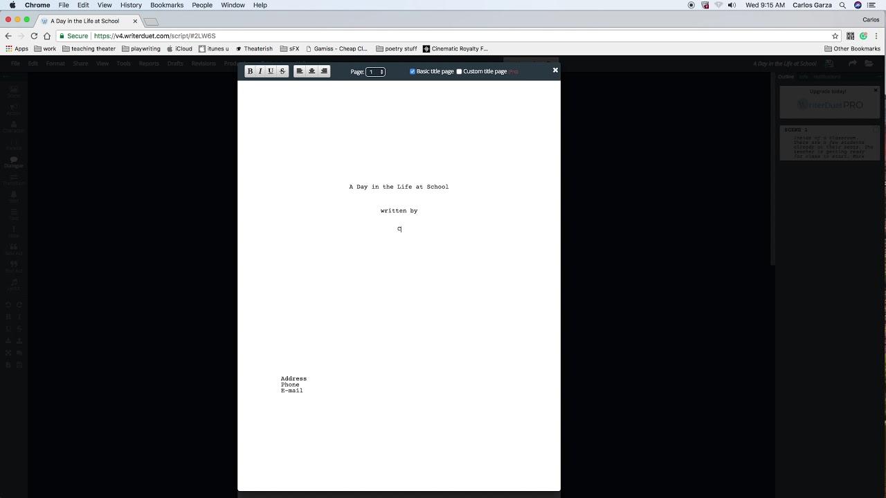 Save script to PDF in writerduet