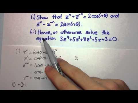 HSC Maths Ext2 - Complex Numbers - Solving equations using De Moivre's Theorem