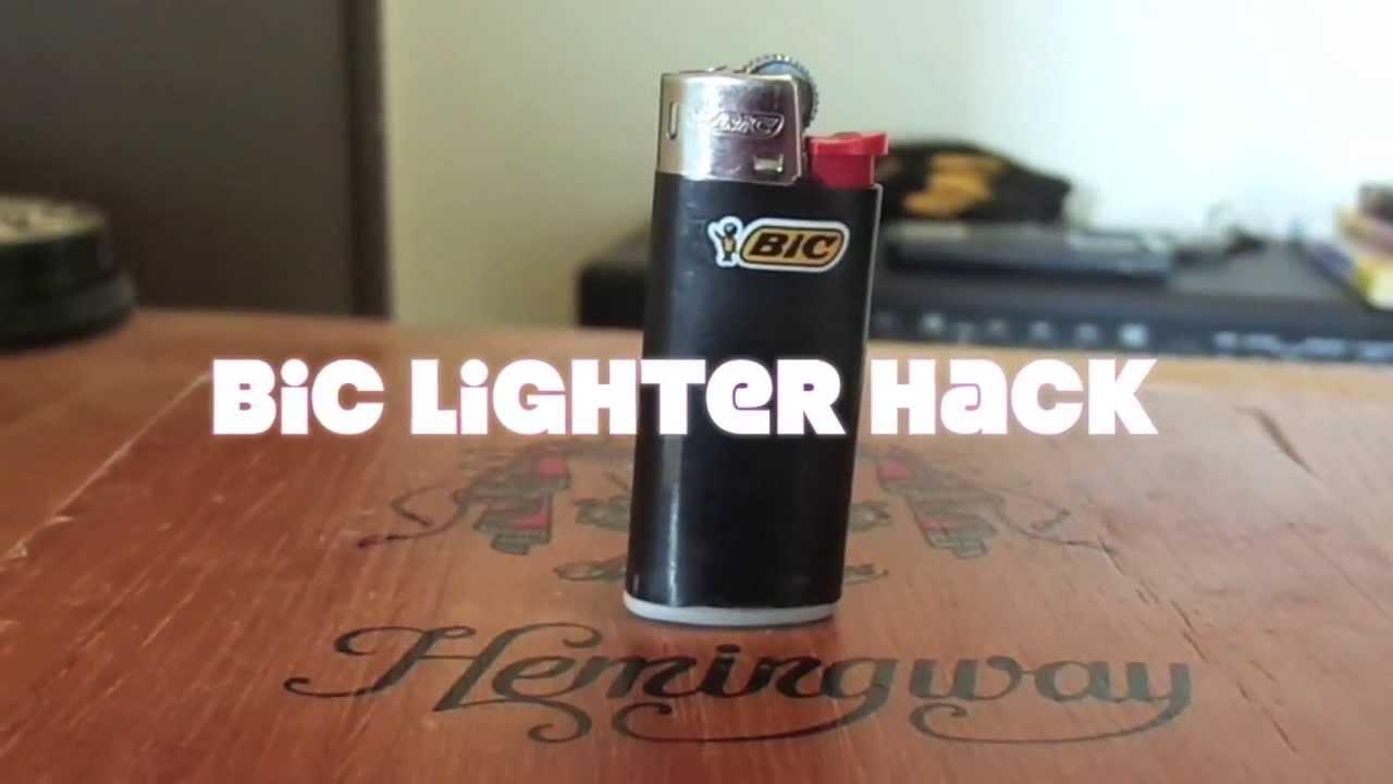 Home-made mini bic stash hack